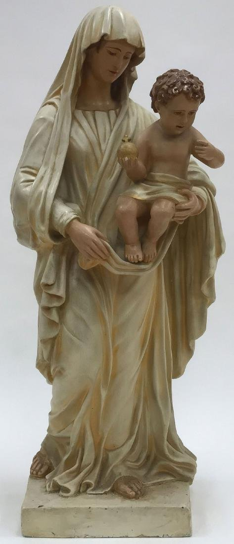 A CAST POLYCHROME FIGURE OF THE MADONNA AND CHILD