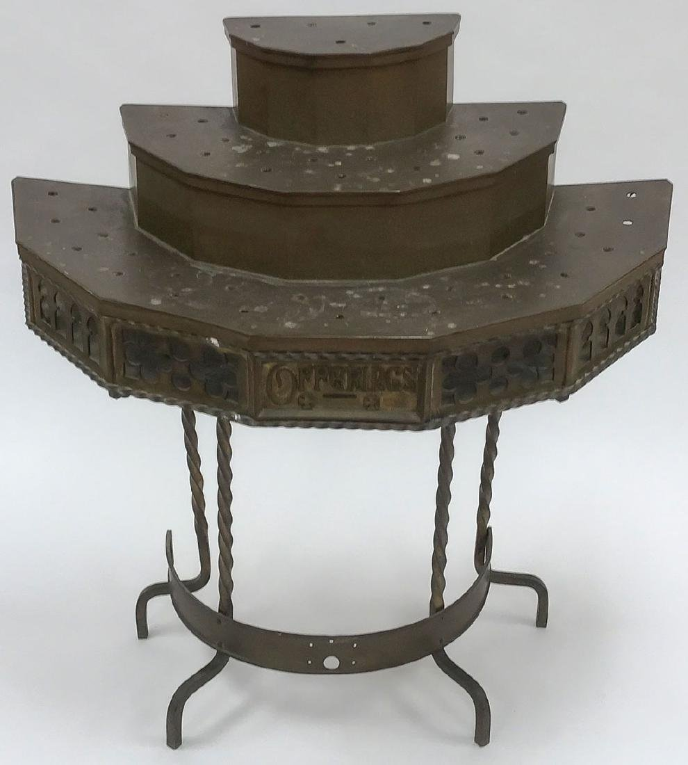 A GOTHIC STYLE WROUGHT IRON VOTIVE CANDLE STAND
