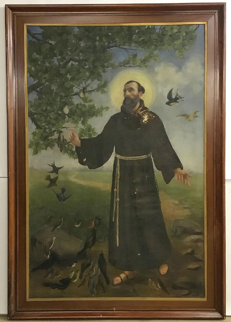 A LARGE PAINTING OF ST FRANCIS, OIL ON CANVAS