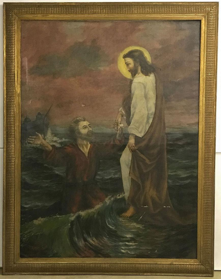 A LARGE PAINTING OF CHRIST WITH SAINT PETER