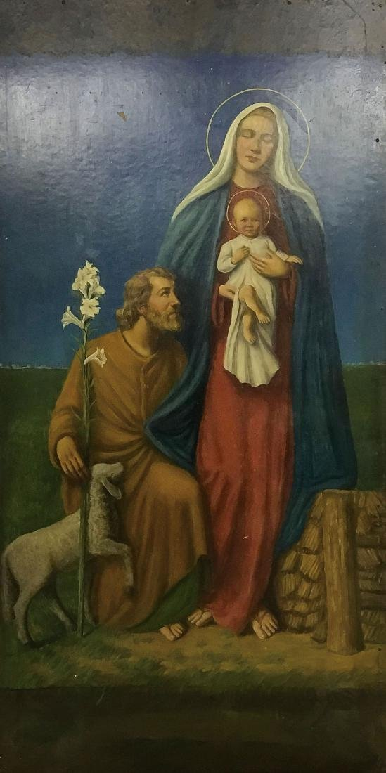A LARGE OIL PAINTING OF THE HOLY FAMILY