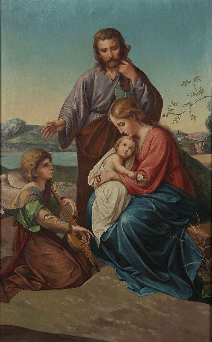 THE HOLY FAMILY (GERMAN 1789-1869) OIL ON CANVAS