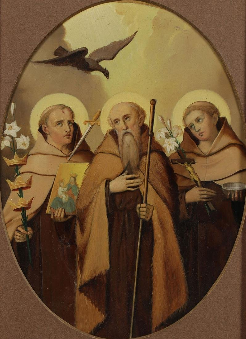 A GROUP OF 3 PAINTINGS DEPICTING SAINTS, 19TH C.