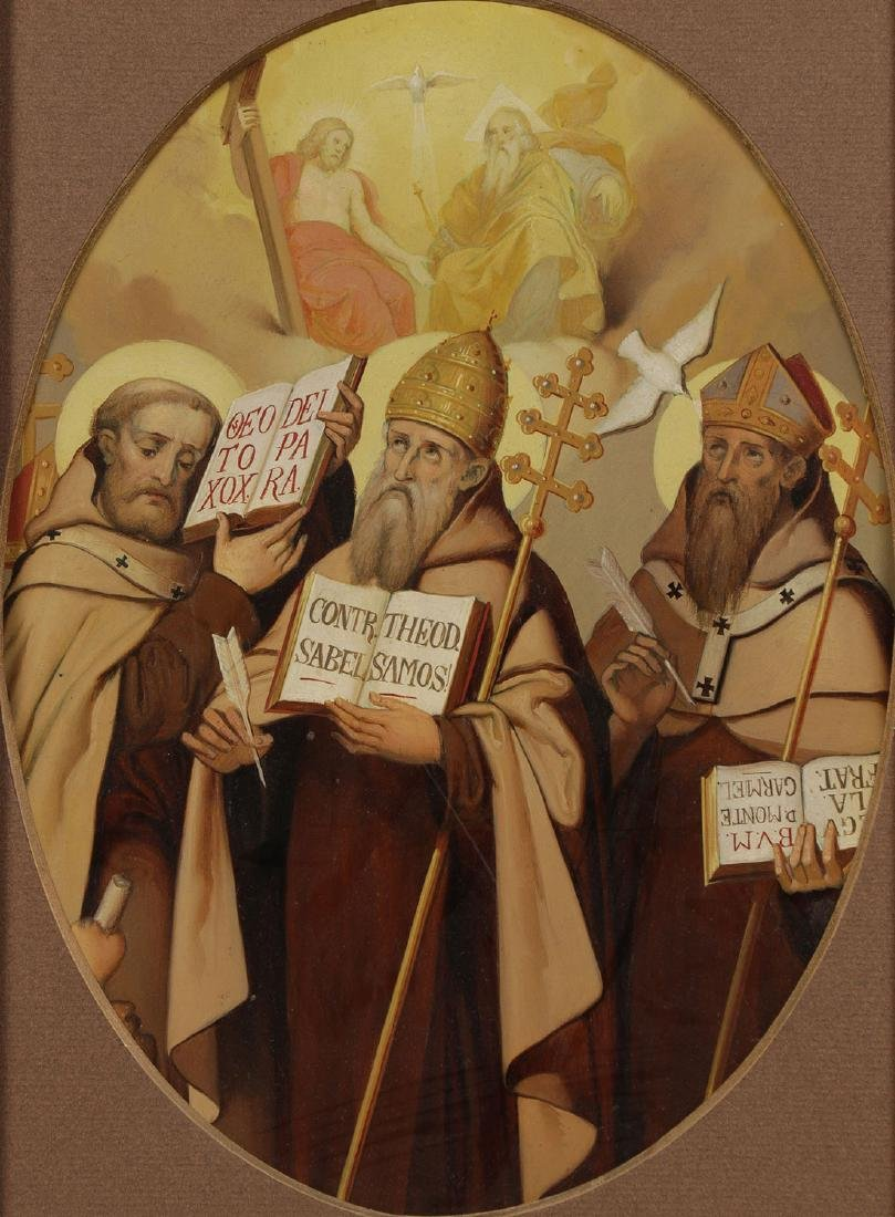 A GROUP OF 3 PAINTINGS DEPICTING SAINTS, 19TH C. - 3