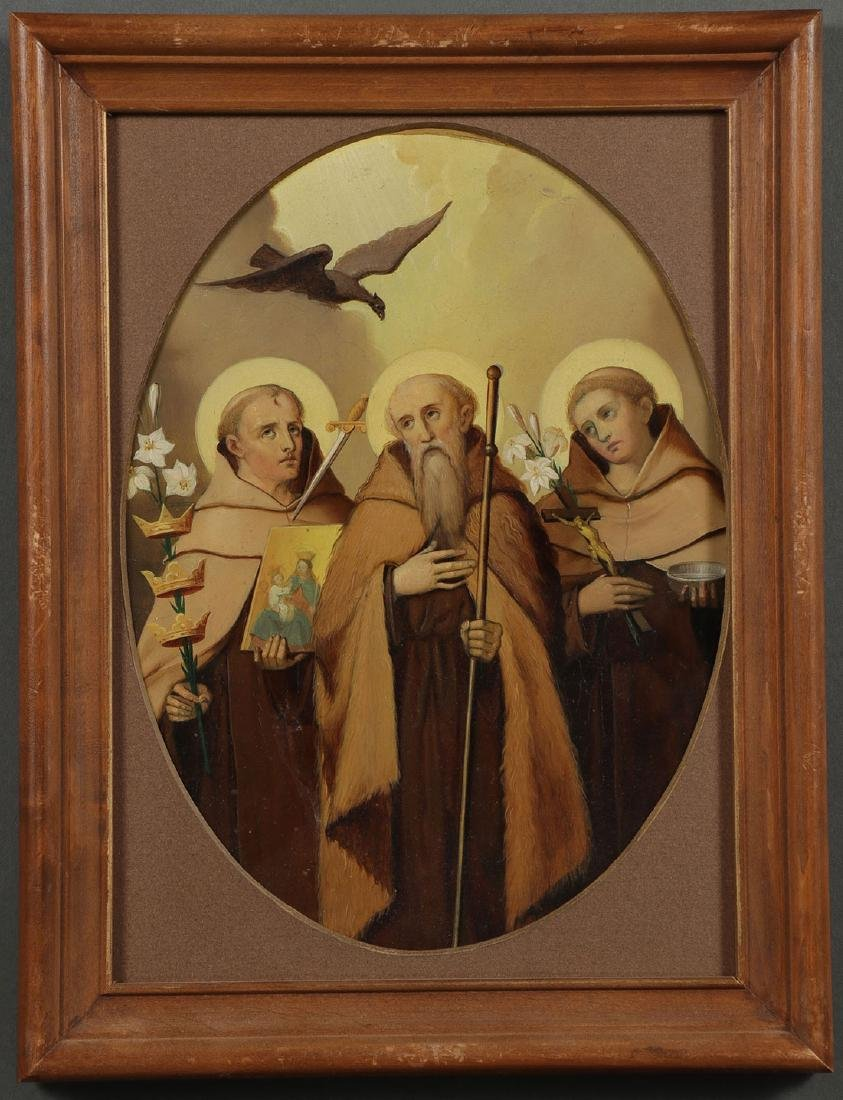 A GROUP OF 3 PAINTINGS DEPICTING SAINTS, 19TH C. - 4