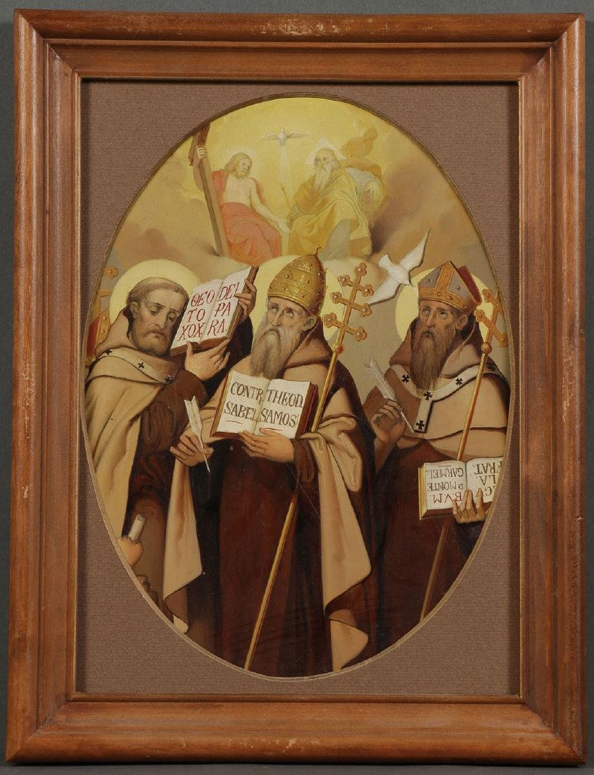 A GROUP OF 3 PAINTINGS DEPICTING SAINTS, 19TH C. - 6