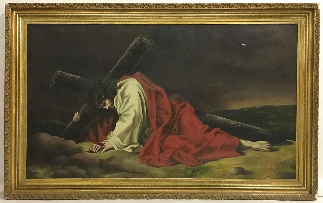 A LARGE PAINTING OF CHRIST ON THE WAY TO CALVARY