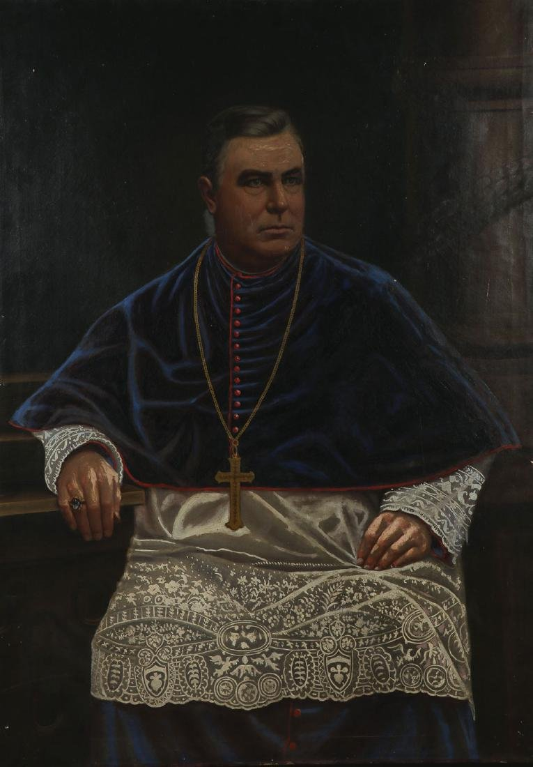 PORTRAIT OF A BISHOP (CIRCA 1900) OIL ON CANVAS