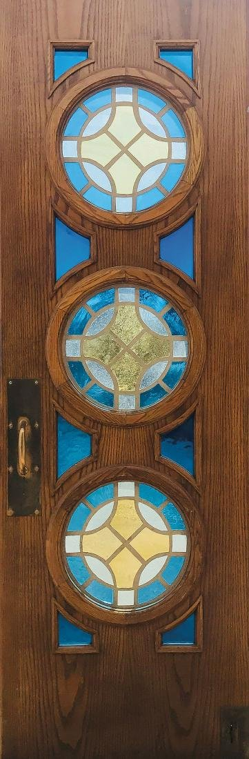 FOUR SUBSTANTIAL OAK DOORS SET WITH STAINED GLASS