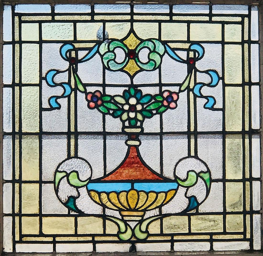 THREE LEADED AND SLAG GLASS WINDOWS, CIRCA 1900