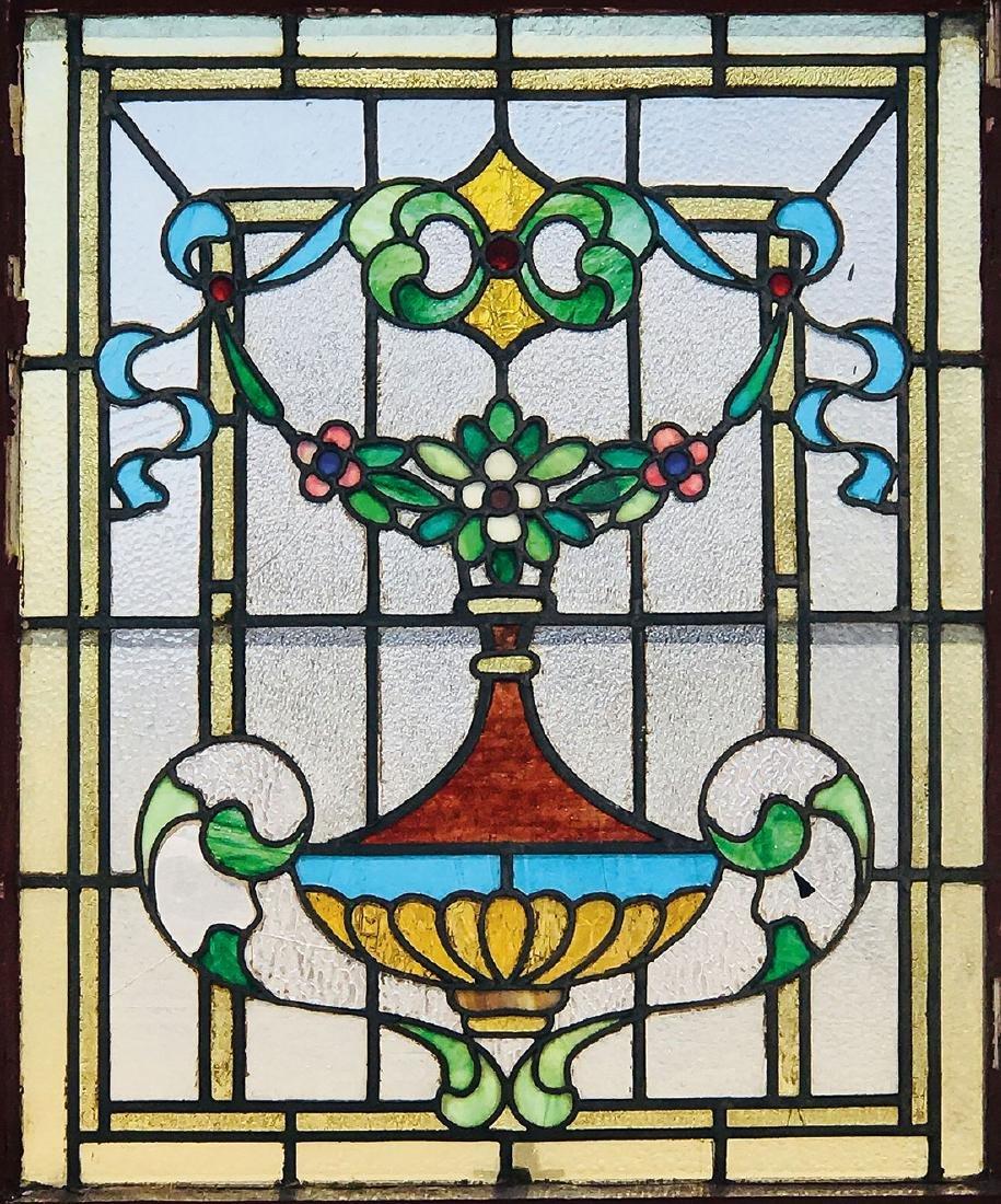THREE LEADED AND SLAG GLASS WINDOWS, CIRCA 1900 - 2