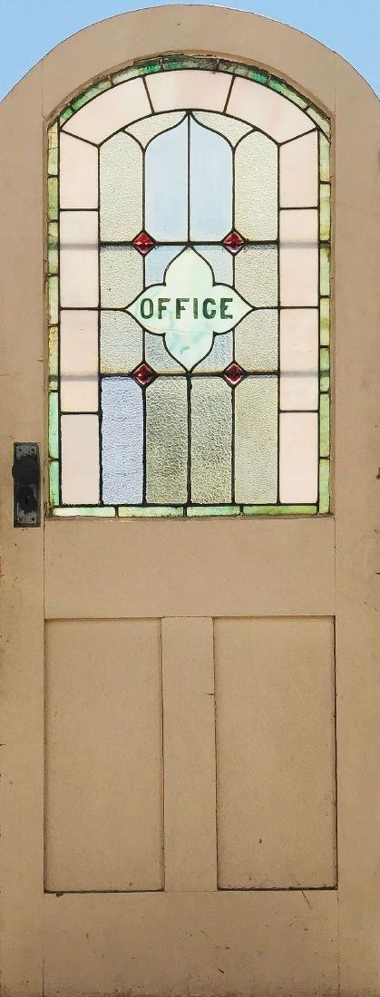 """A WOOD DOOR WITH LEADED GLASS """"OFFICE WINDOW"""""""