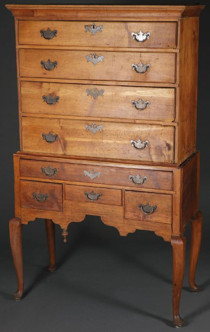 A QUEEN ANNE HIGH CHEST, NEW ENGLAND, 18TH C.