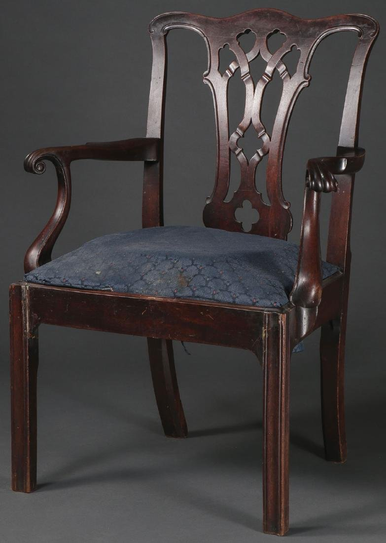 A GEORGE III MAHOGANY ARMCHAIR, 1760-1780