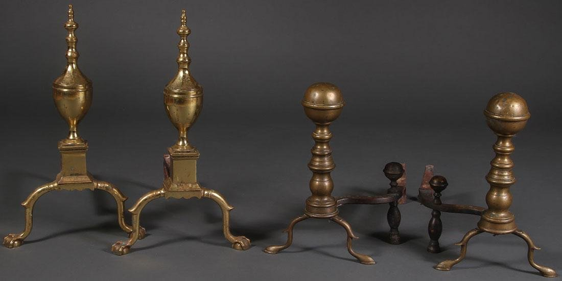 A PAIR OF BRASS ANDIRON, 18TH AND 19TH CENTURIES