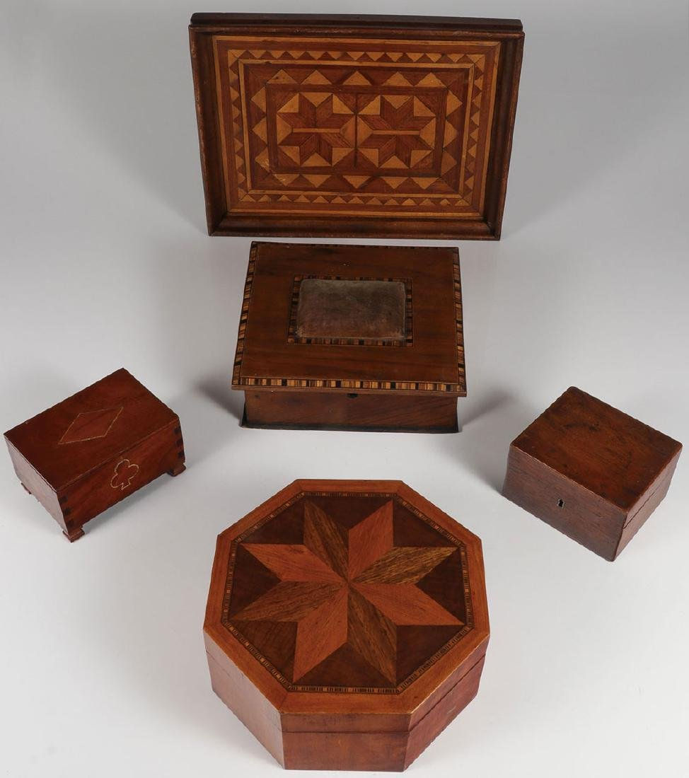 FOUR HANDMADE WOOD BOXES AND A TRAY, 19TH CENTURY
