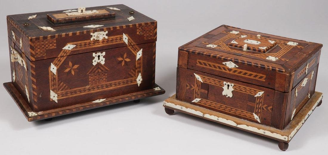 A PAIR OF WHALE BONE & MARQUETRY SEWING BOXES