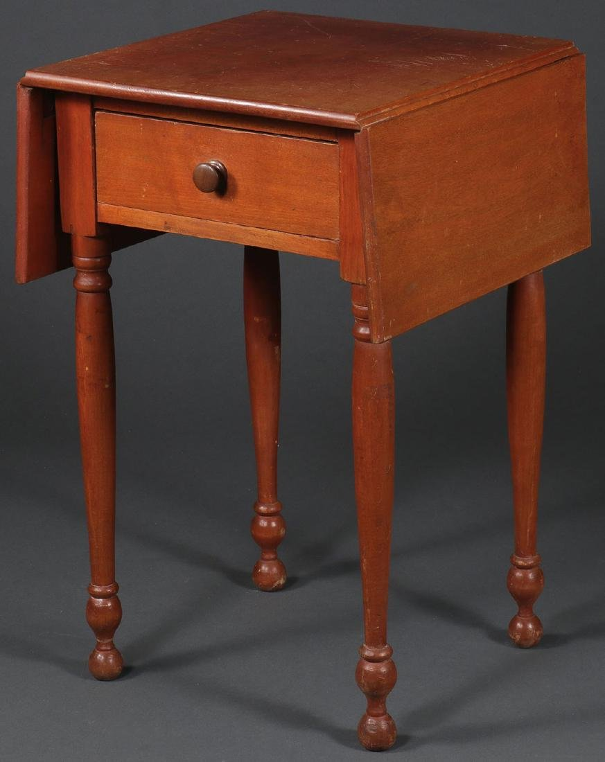 A SINGLE DRAWER DROP LEAF STAND, 19TH CENTURY
