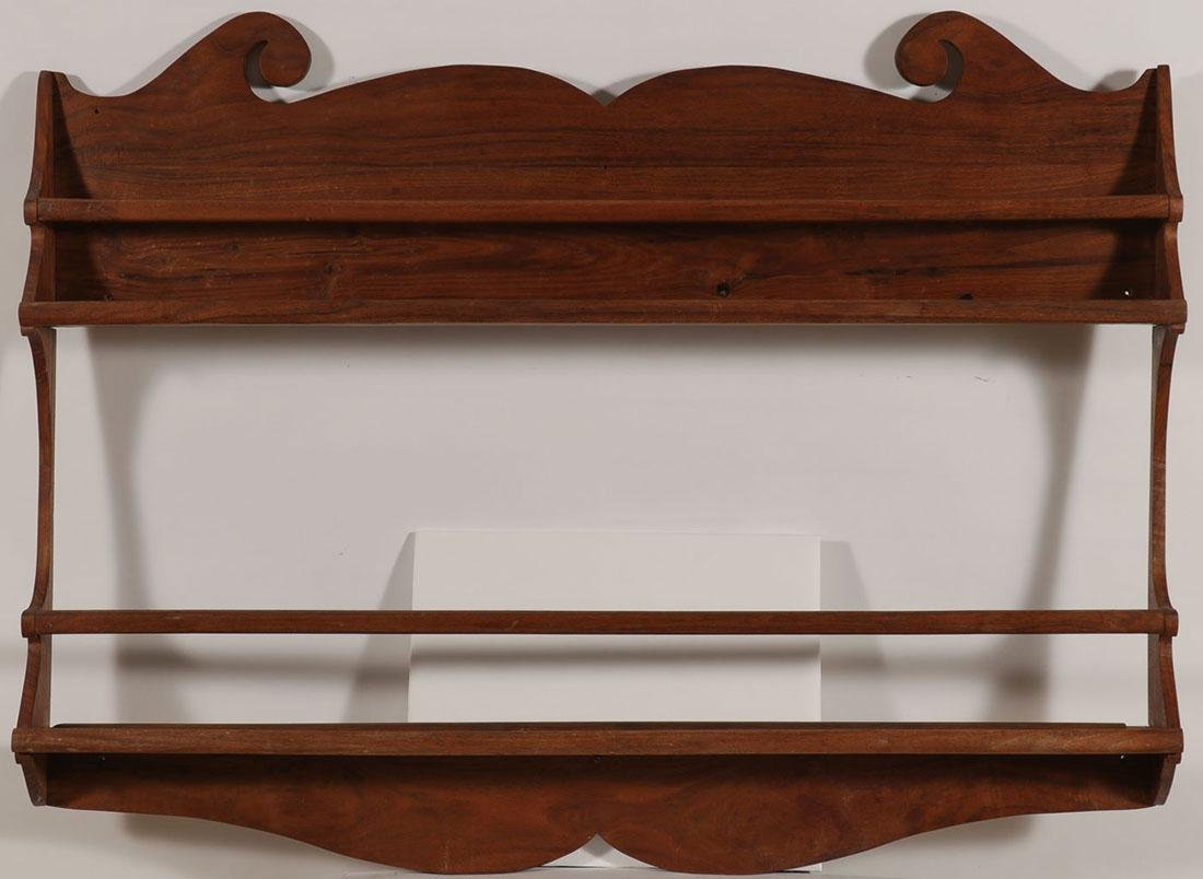 AN AMERICAN CHERRY WOOD PLATE AND SPOON RACK