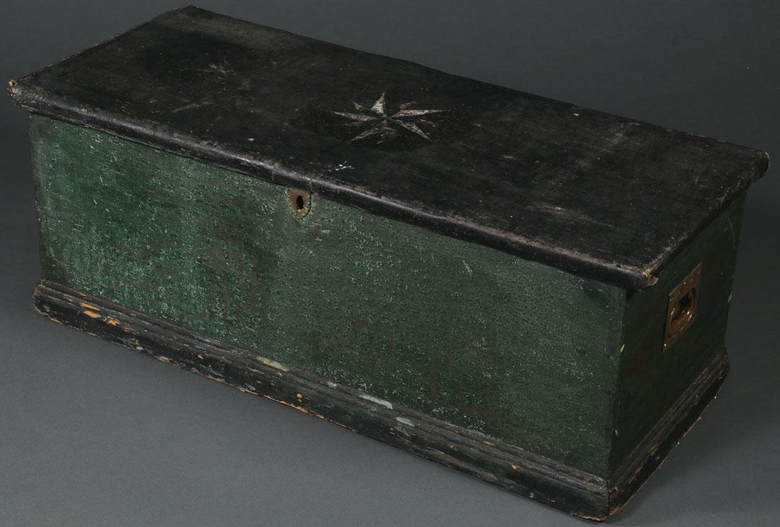 A PAINTED PINE MARITIME CHEST, 19TH C.