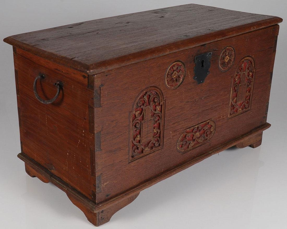 AN INTERESTING CARVED WOOD CHEST, PROBABLY 19TH C