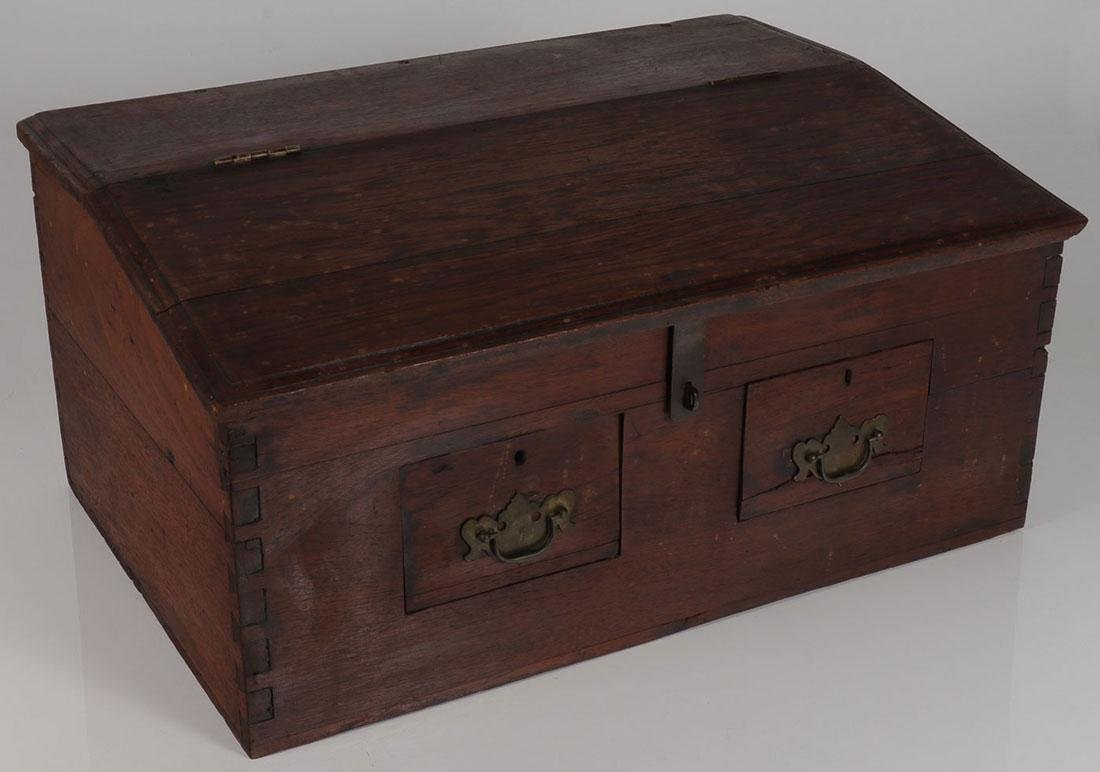 AN INTERESTING SLANT TOP CHEST, PROBABLY 19TH C.
