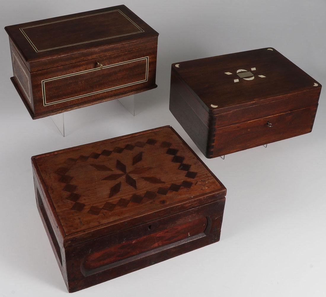 A GROUP OF THREE DOCUMENT BOXES, 19TH CENTURY