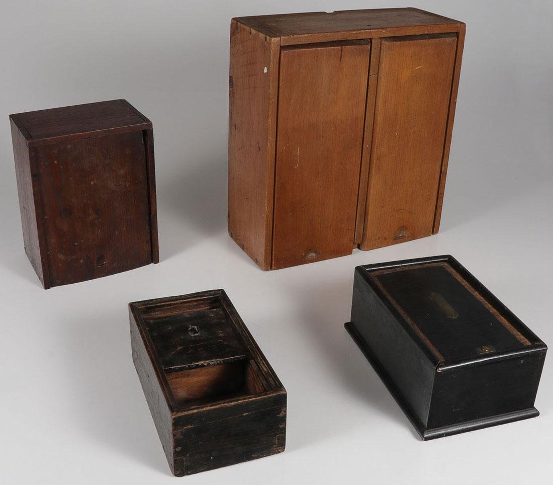 A GROUP OF CANDLE AND TEA BOXES, 19TH CENTURY