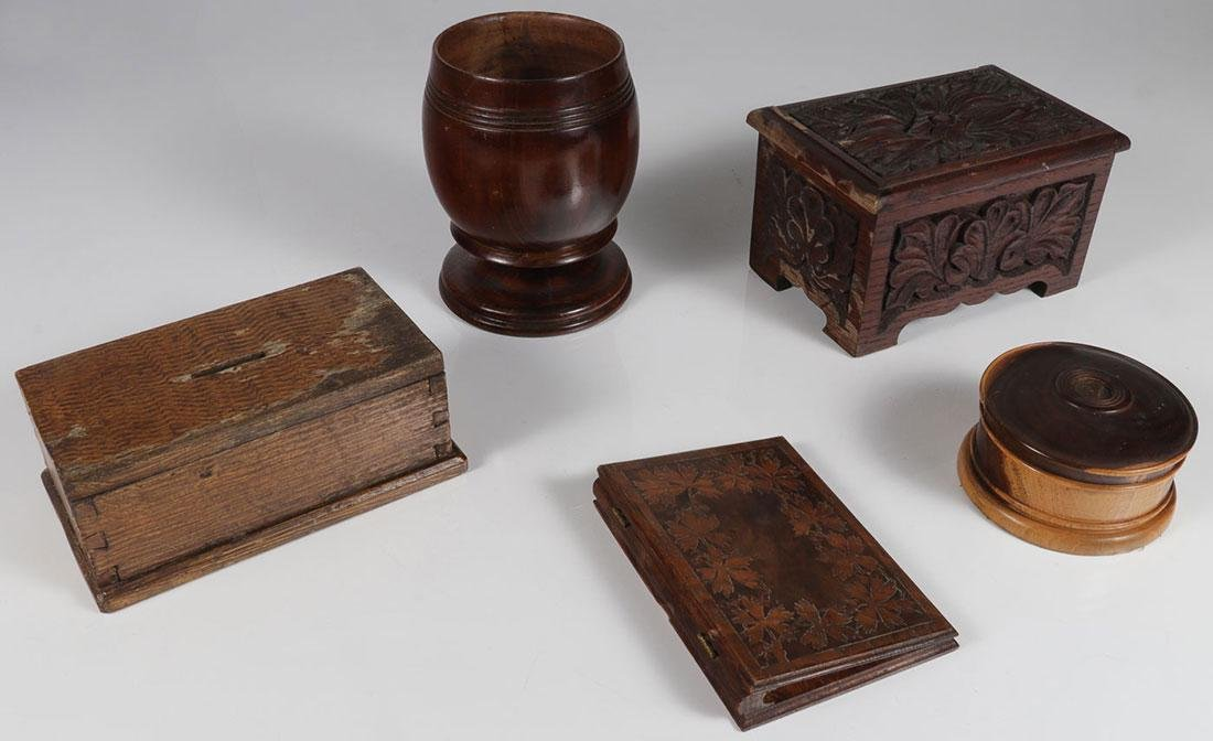 FIVE CARVED WOOD BOXES AND CONTAINERS