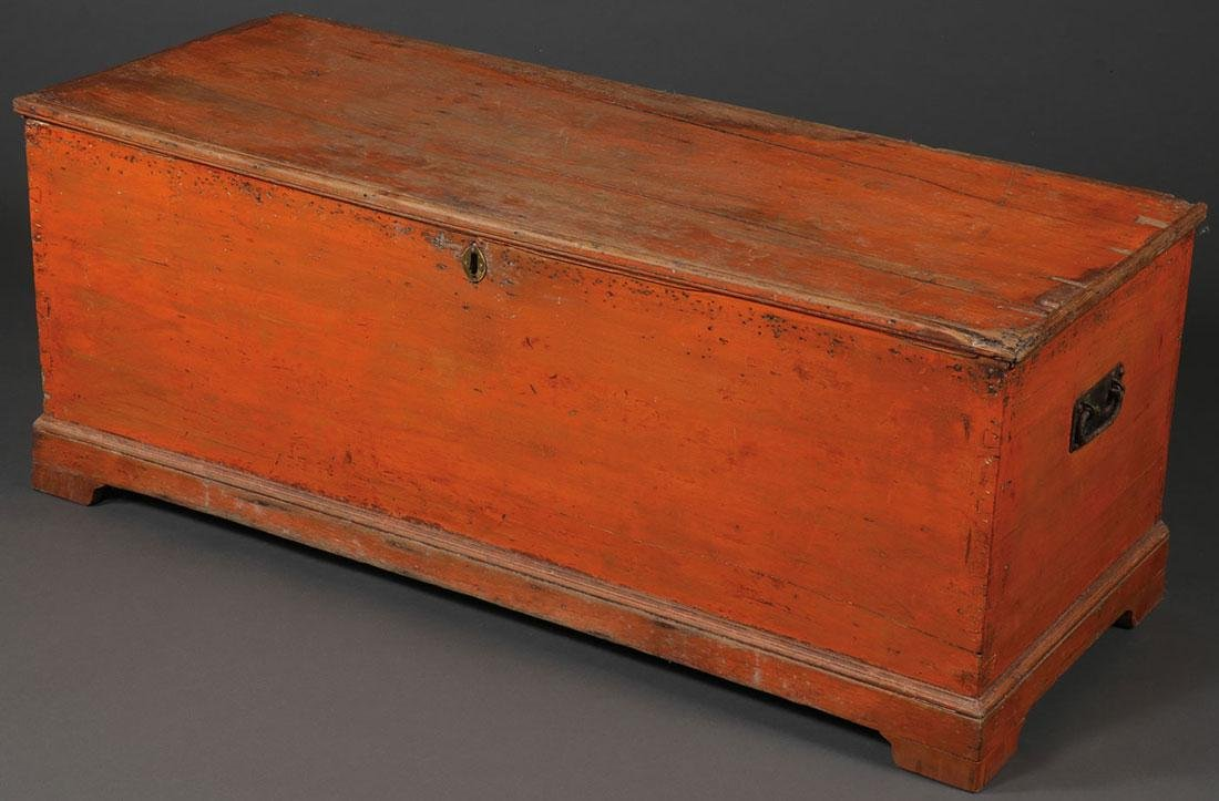 AN ORANGE PAINTED PINE CHEST, 19TH CENTURY