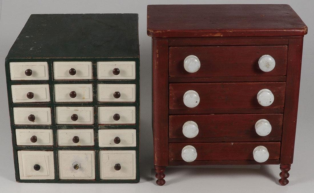 A PAIR OF PRIMITIVE PAINTED CABINETS
