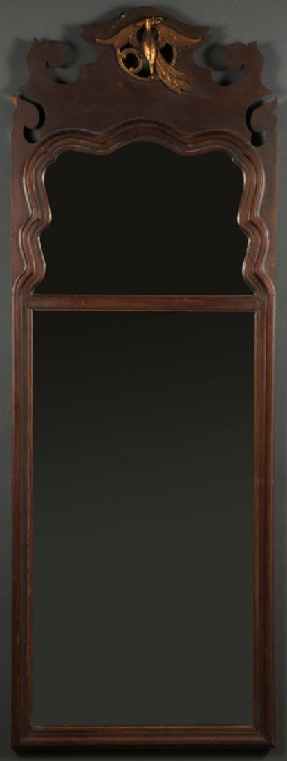 A WALNUT VENEERED MIRROR, 19TH CENTURY