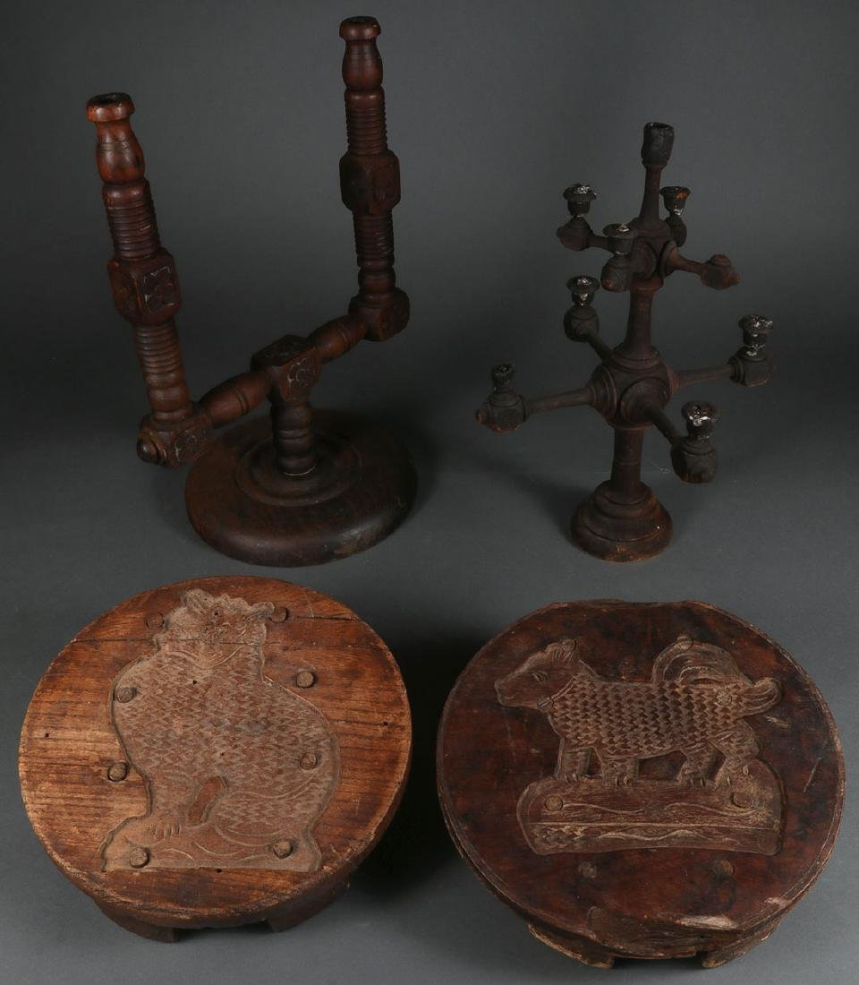 FOUR CARVED WOOD PRIMITIVES