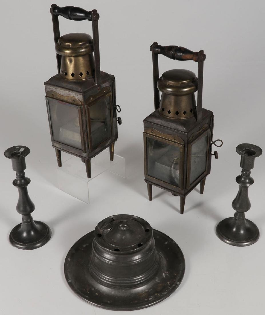 A GROUP OF PEWTER ITEMS, 19TH CENTURY