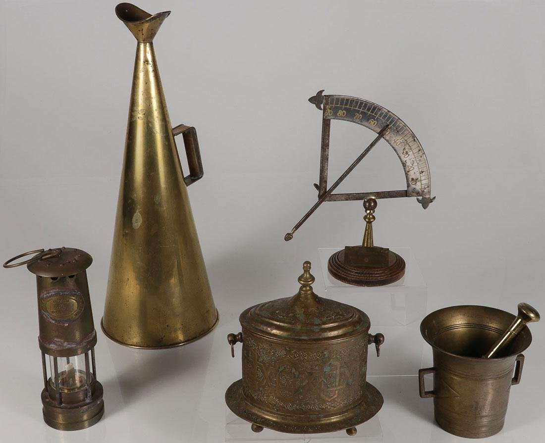 A GROUP OF BRASS OBJECTS