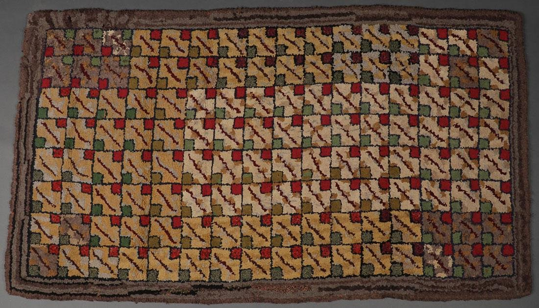 A PAIR OF AMERICAN HOOKED RUGS - 2