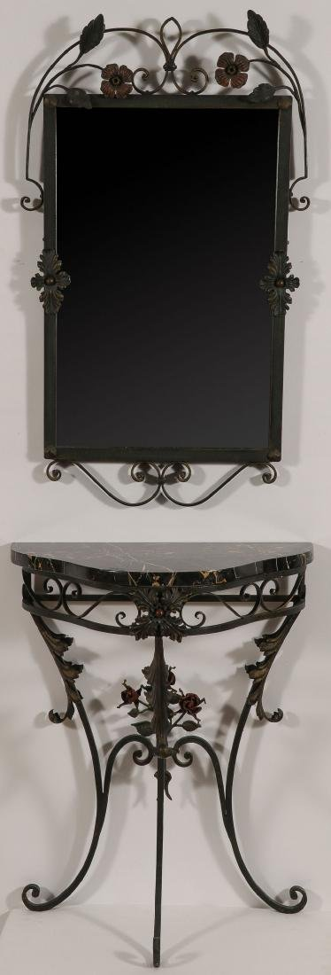 A FRENCH WROUGHT IRON & MARBLE CREDENZA & MIRROR