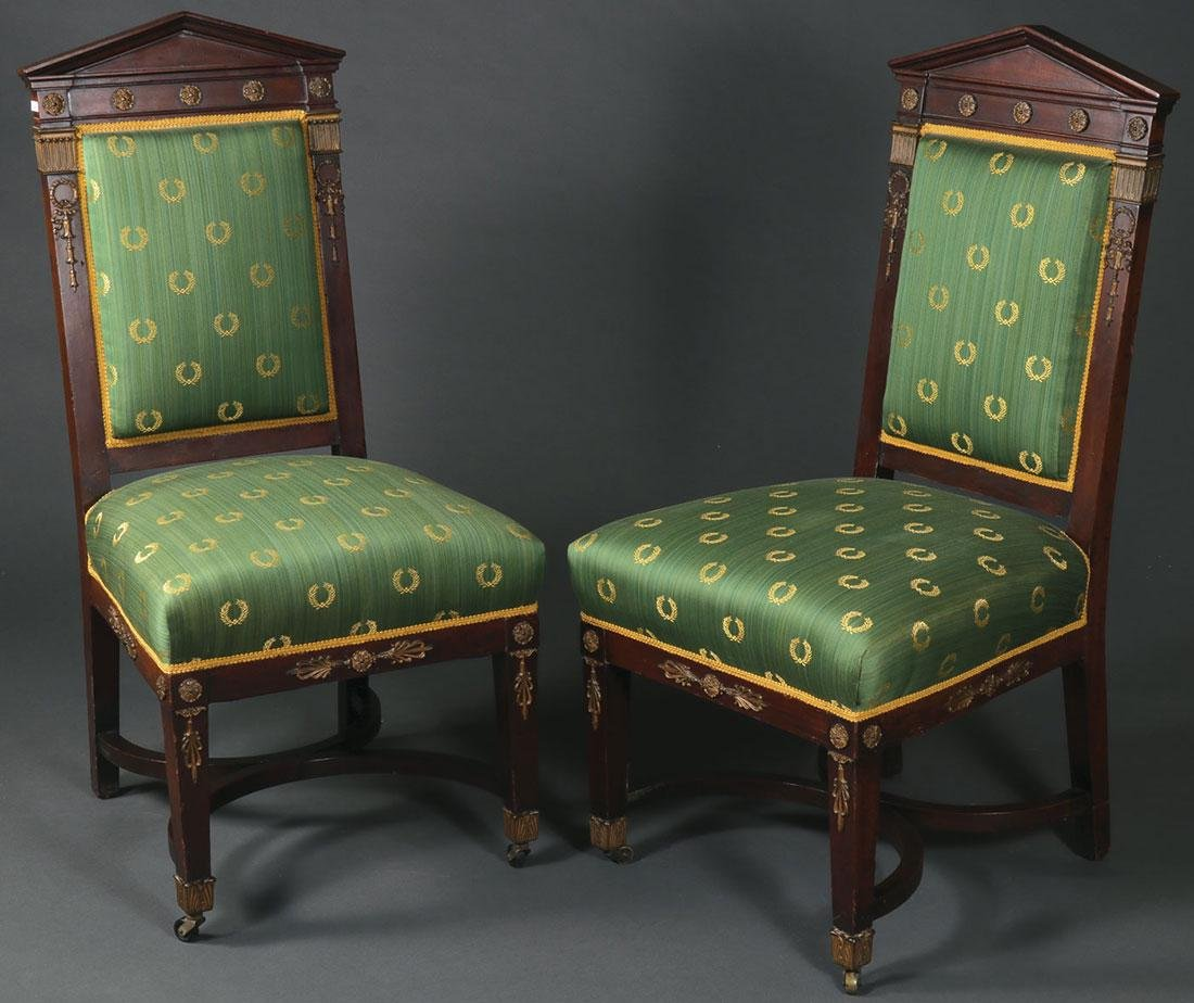 A PAIR OF FINE FRENCH EMPIRE REVIVAL SIDE CHAIRS