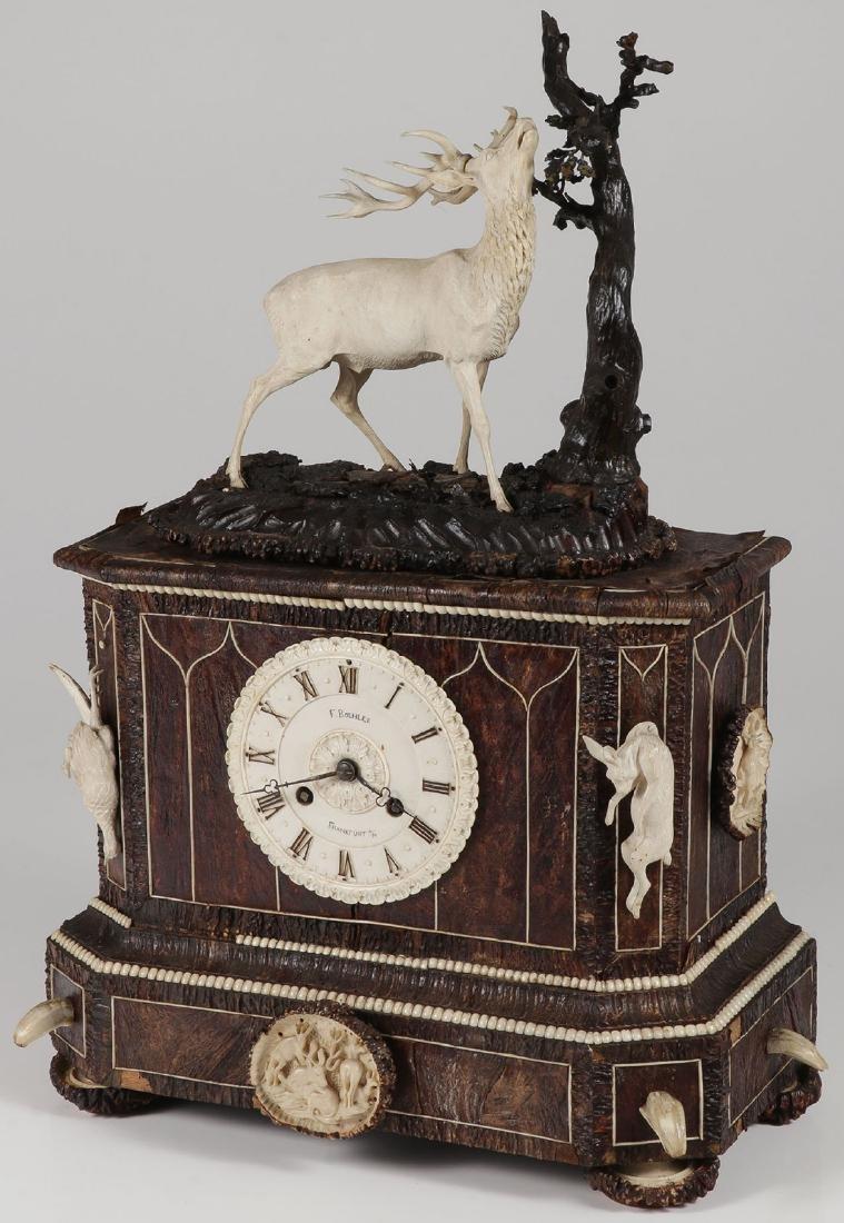 A GERMAN MANTEL HUNT CLOCK, FRIEDRICH BOHLER