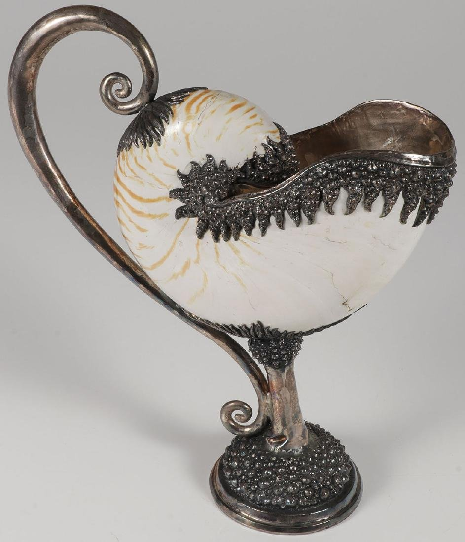A SILVER MOUNTED NAUTILUS SHELL