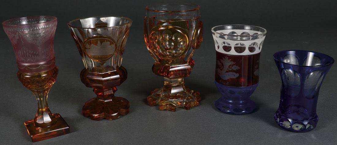 THREE FINE BOHEMIAN ETCHED CRYSTALWARE, 19TH C.