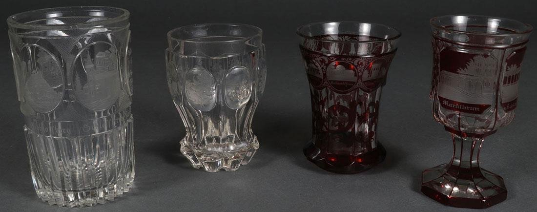 3 FINE BOHEMIAN ETCHED CRYSTALWARE, 19TH C.