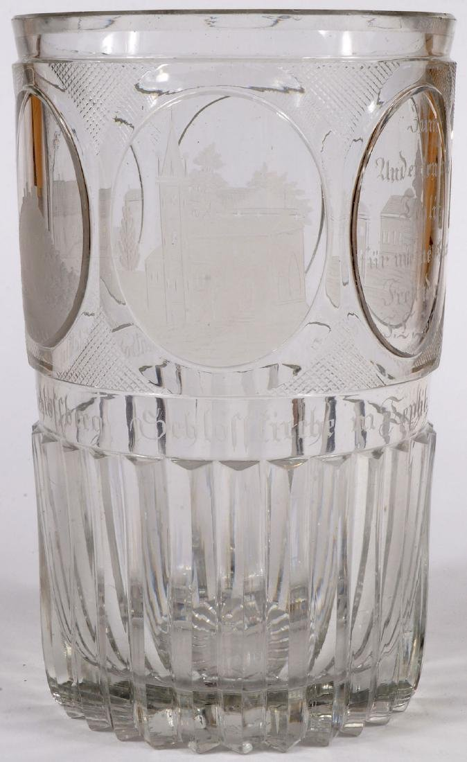 3 FINE BOHEMIAN ETCHED CRYSTALWARE, 19TH C. - 2