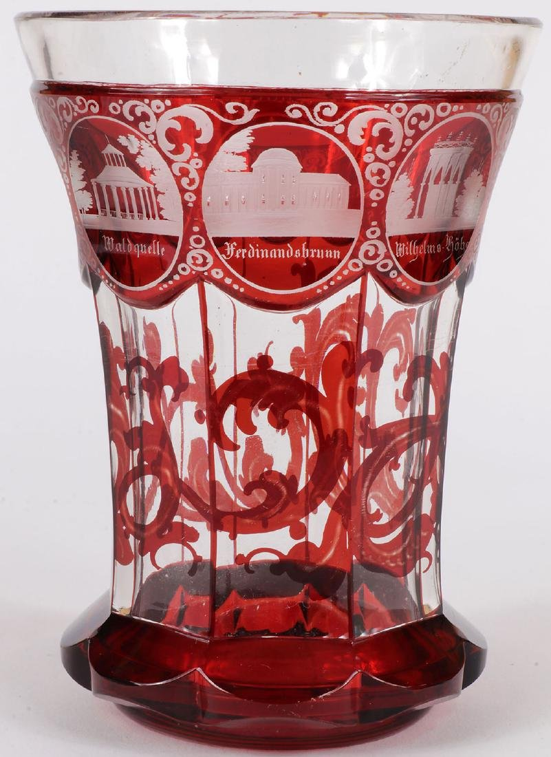 3 FINE BOHEMIAN ETCHED CRYSTALWARE, 19TH C. - 4
