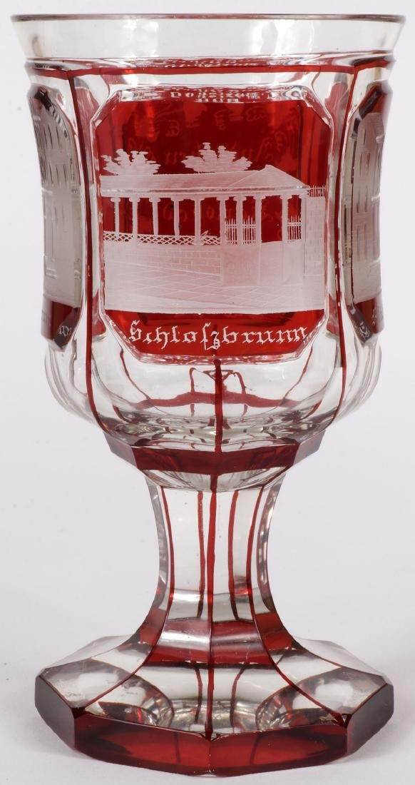 3 FINE BOHEMIAN ETCHED CRYSTALWARE, 19TH C. - 5