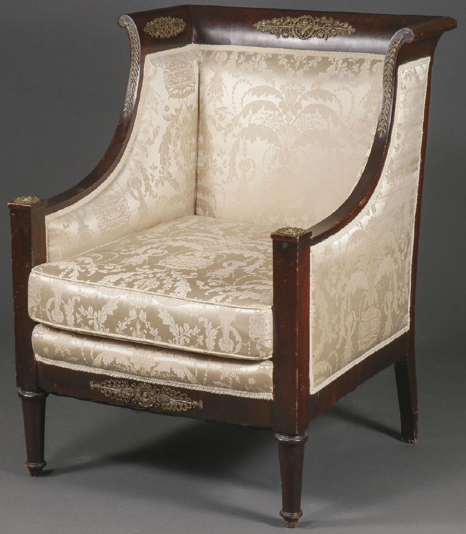 A FRENCH EMPIRE STYLE ARMCHAIR, 19TH CENTURY