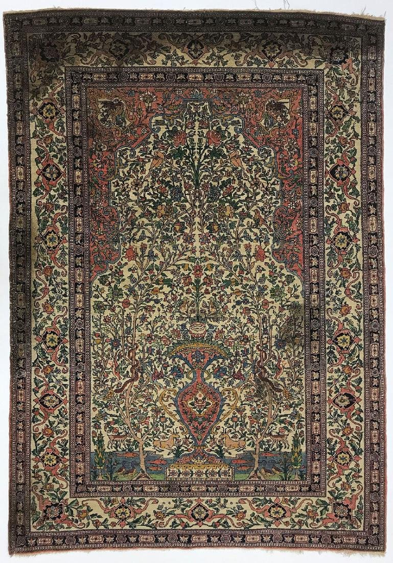 A PERSIAN ISPHAHAN TREE OF LIFE RUG, CIRCA 1920