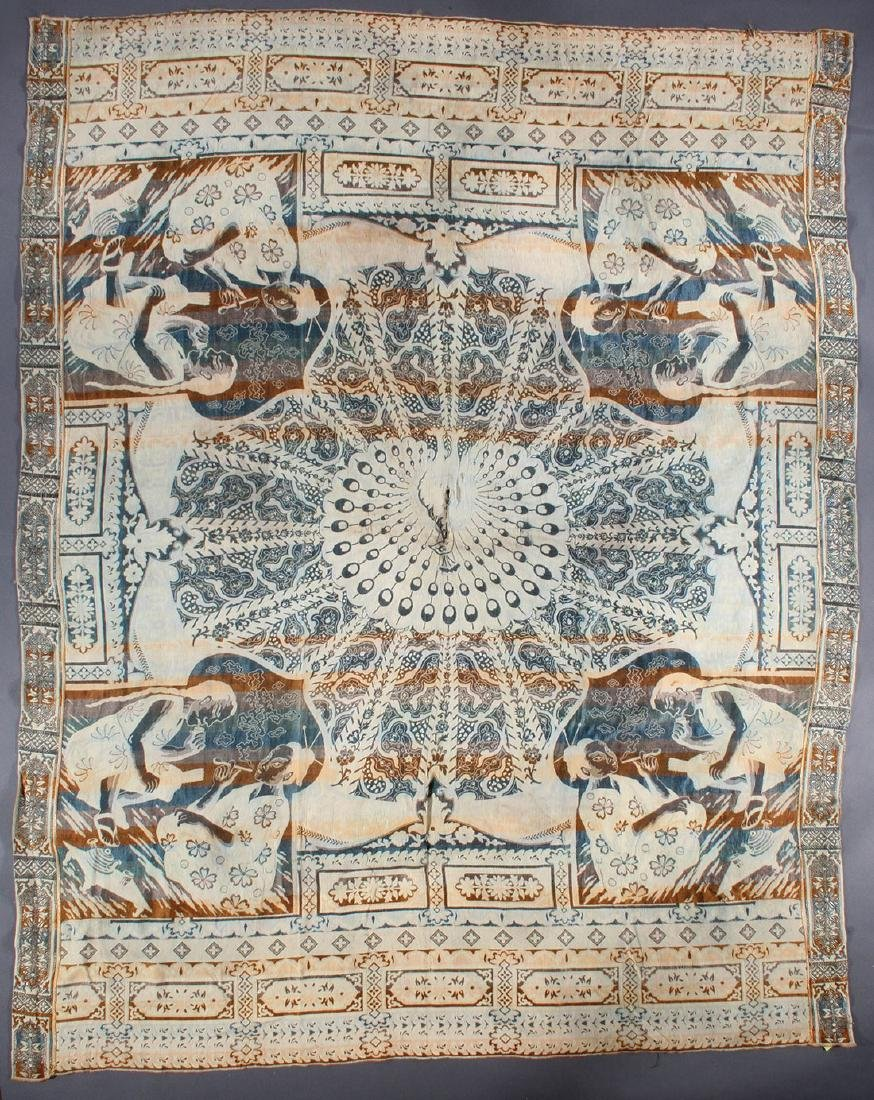 A CHINOISERIE TAPESTRY SILK COVERLET, 19TH C.