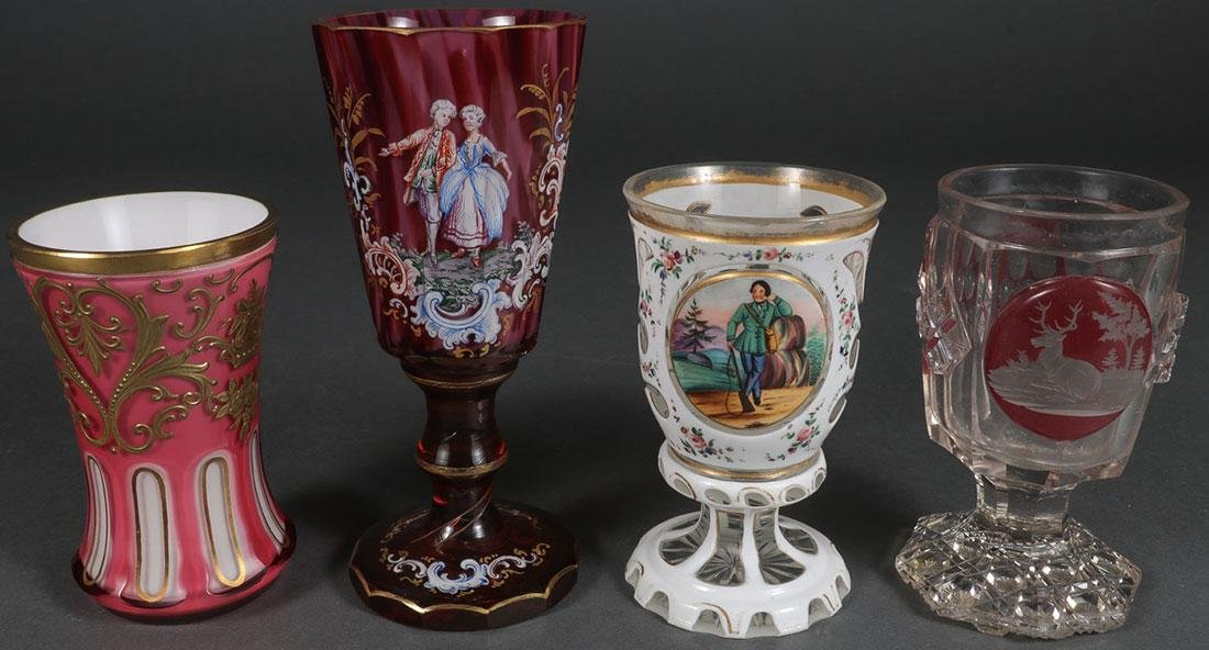 THREE FINE BOHEMIAN POKALS & A GOBLET, 19TH C.