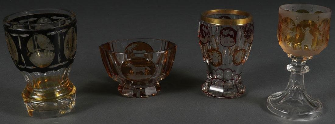 GROUP OF FOUR BOHEMIAN ETCHED CRYSTAL, 19TH C.
